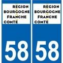 58 Nièvre autocollant plaque immatriculation auto département sticker Bourgogne-Franche-Comté nouveau logo