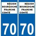 70 Haute-Saône autocollant plaque immatriculation auto département sticker Bourgogne-Franche-Comté nouveau logo