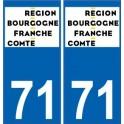 71 Saône-et-Loire autocollant plaque immatriculation auto département sticker Bourgogne-Franche-Comté nouveau logo