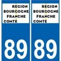 89 Yonne autocollant plaque immatriculation auto département sticker Bourgogne-Franche-Comté nouveau logo