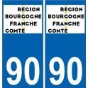 90 Territoire de Belfort autocollant plaque immatriculation auto département sticker Bourgogne-Franche-Comté nouveau logo