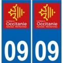 09 Ariège autocollant plaque immatriculation auto département sticker Occitanie nouveau logo