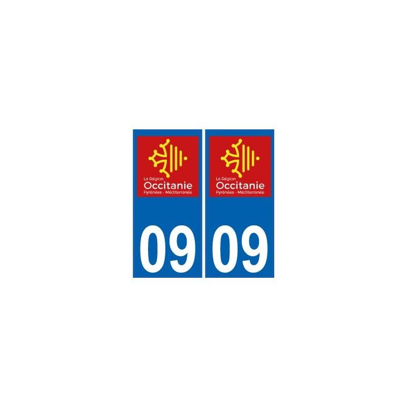 09 ari ge autocollant plaque immatriculation auto d partement sticker occitanie nouveau logo. Black Bedroom Furniture Sets. Home Design Ideas
