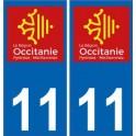 11 Aude autocollant plaque immatriculation auto département sticker Occitanie nouveau logo