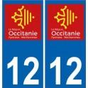 12 Aveyron autocollant plaque immatriculation auto département sticker Occitanie nouveau logo