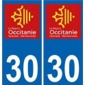 30 Gard autocollant plaque immatriculation auto département sticker Occitanie nouveau logo