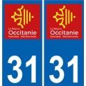 31 Haute-Garonne autocollant plaque immatriculation auto département sticker Occitanie nouveau logo