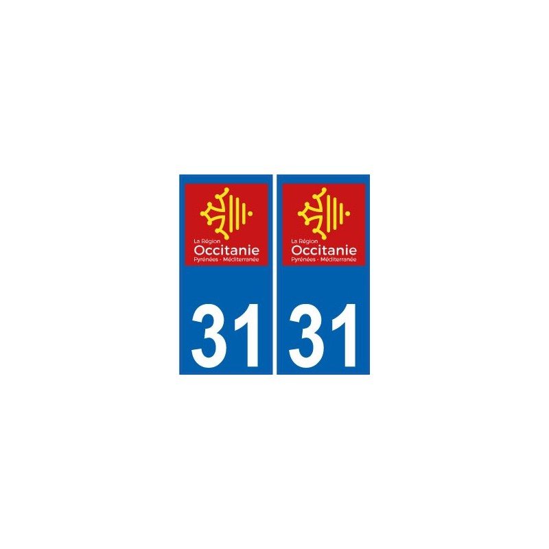 31 haute garonne autocollant plaque immatriculation auto d partement sticker occitanie nouveau logo. Black Bedroom Furniture Sets. Home Design Ideas
