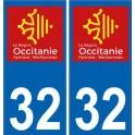 32 Gers autocollant plaque immatriculation auto département sticker Occitanie nouveau logo