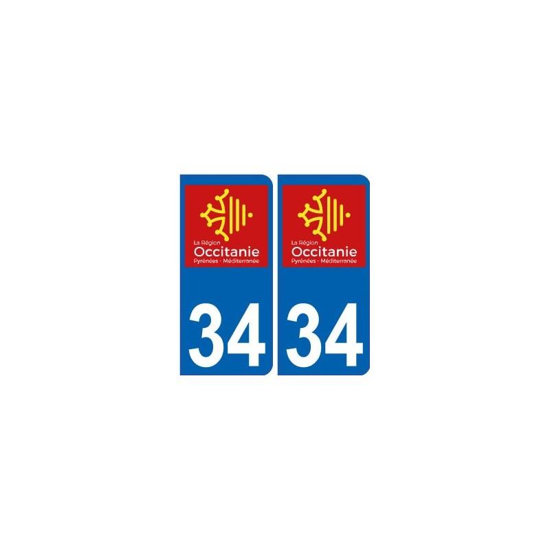 34 h rault autocollant plaque immatriculation auto d partement sticker occitanie nouveau logo. Black Bedroom Furniture Sets. Home Design Ideas
