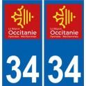 34 Hérault autocollant plaque immatriculation auto département sticker Occitanie nouveau logo