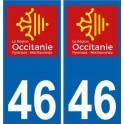 46 Lot autocollant plaque immatriculation auto département sticker Occitanie nouveau logo