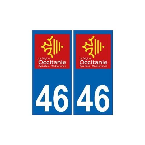 46 lot autocollant plaque immatriculation auto d partement sticker occitanie nouveau logo. Black Bedroom Furniture Sets. Home Design Ideas