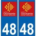 48 Lozère autocollant plaque immatriculation auto département sticker Occitanie nouveau logo