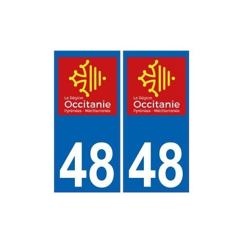 48 loz re autocollant plaque immatriculation auto d partement sticker occitanie nouveau logo. Black Bedroom Furniture Sets. Home Design Ideas