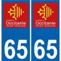 65 Hautes-Pyrénées autocollant plaque immatriculation auto département sticker Occitanie nouveau logo