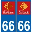 66 Pyrénées-Orientales autocollant plaque immatriculation auto département sticker Occitanie nouveau logo
