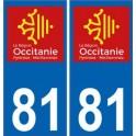 81 Tarn autocollant plaque immatriculation auto département sticker Occitanie nouveau logo