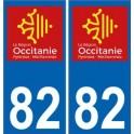 82 Tarn-et-Garonne autocollant plaque immatriculation auto département sticker Occitanie nouveau logo