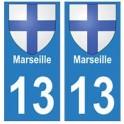 13 Marseille ville autocollant plaque
