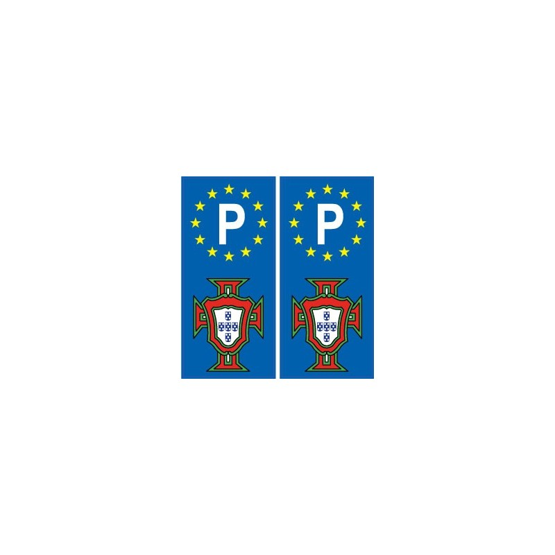 portugal fpf f autocollant plaque immatriculation avec p. Black Bedroom Furniture Sets. Home Design Ideas