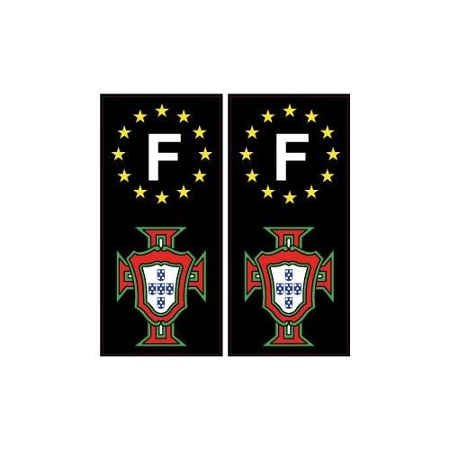 autocollant plaque immatriculation portugal fpf f avec le f europe noir. Black Bedroom Furniture Sets. Home Design Ideas