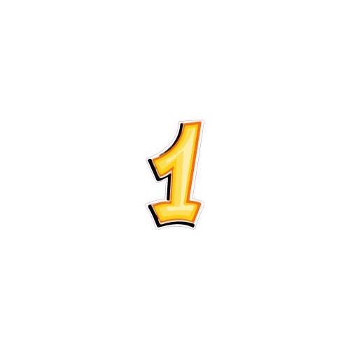 Chiffre En Tag chiffre 1 un - autocollant sticker style tag jaune adhésif ref69