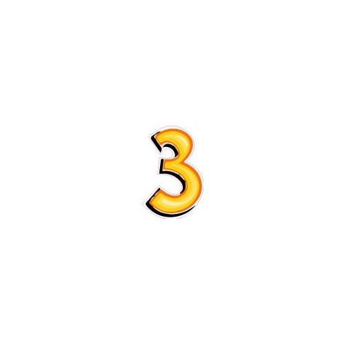 chiffre 3 trois autocollant sticker style tag jaune. Black Bedroom Furniture Sets. Home Design Ideas