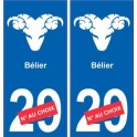 Bélier astrologie autocollant plaque auto logo 1
