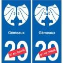 Gémeaux astrologie autocollant plaque auto logo 2