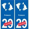 Poissons astrologie autocollant plaque auto logo 2