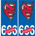 Head devil satan sticker plate auto