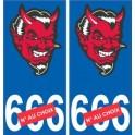 Tête de diable satan autocollant plaque auto