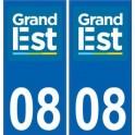 08 Ardennes autocollant plaque immatriculation auto département sticker Grand-Est nouveau logo 2