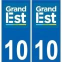 10 Aube autocollant plaque immatriculation auto département sticker Grand-Est nouveau logo 2