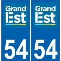 54 Meurthe-et-Moselle autocollant plaque immatriculation auto département sticker Grand-Est nouveau logo 2