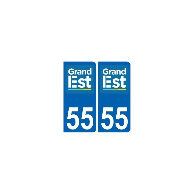 55 meuse autocollant plaque immatriculation auto d partement sticker grand est nouveau logo. Black Bedroom Furniture Sets. Home Design Ideas