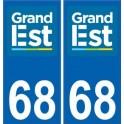 68 Haut-Rhin autocollant plaque immatriculation auto département sticker Grand-Est nouveau logo 2