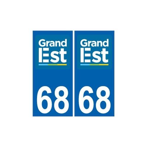 68 haut rhin autocollant plaque immatriculation auto d partement sticker grand est nouveau logo. Black Bedroom Furniture Sets. Home Design Ideas