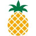 autocollant ananas vectorisé couleur jaune et vert