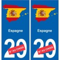 Espagne carte drapeau autocollant sticker plaque immatriculation