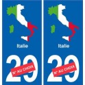 Italie carte drapeau autocollant sticker plaque immatriculation
