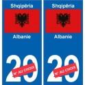 Albanie Shqipëri sticker numéro département au choix autocollant plaque immatriculation auto