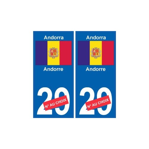 andorre andorra sticker num ro d partement au choix autocollant plaque immatriculation auto. Black Bedroom Furniture Sets. Home Design Ideas