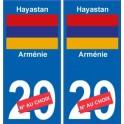 Arménie Hayastan sticker numéro département au choix autocollant plaque immatriculation auto