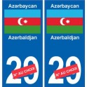 Azerbaïdjan Azǝrbaycan sticker numéro département au choix autocollant plaque immatriculation auto