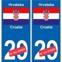 Croatie Hrvatska sticker numéro département au choix autocollant plaque immatriculation auto