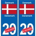 Danemark Danmark sticker numéro département au choix autocollant plaque immatriculation auto