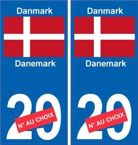 arrondis Danemark Danmark europe autocollant plaque