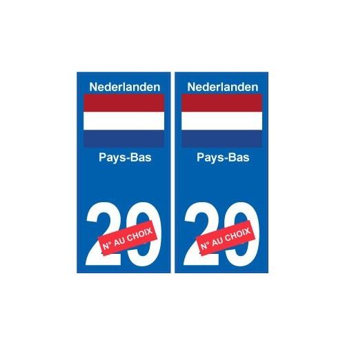 Pays-Bas Nederland sticker numéro département au choix autocollant plaque immatriculation auto